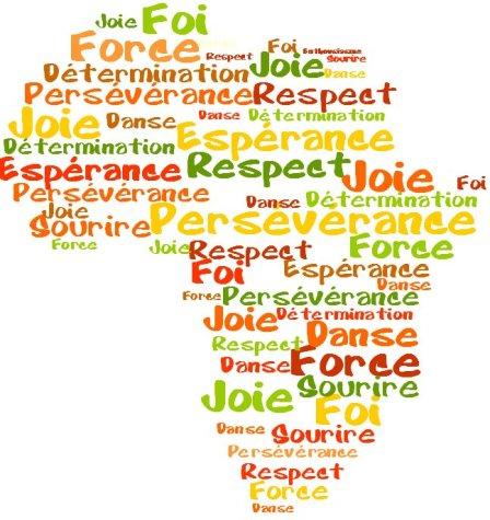Joie, foi, force, respect, persévérance, sourire, danse, détermination