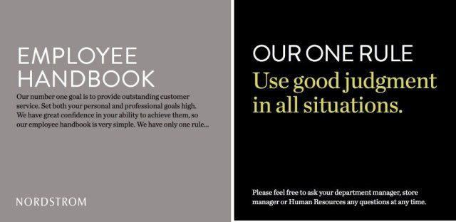 Nordstrom Employee Handbook, our one rule